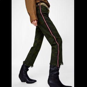 Zara Camouflage Straight Cropped Raw Hem Jeans 4